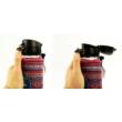 DORAS teás, kávés üvegkulacs mintás, kifordítható neoprén huzattal, egykezes kupakkal, 380 ml