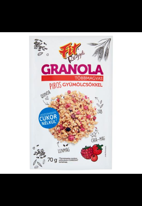 Fitt reggeli granola többmagvas pirosgyümölcsökkel 70g