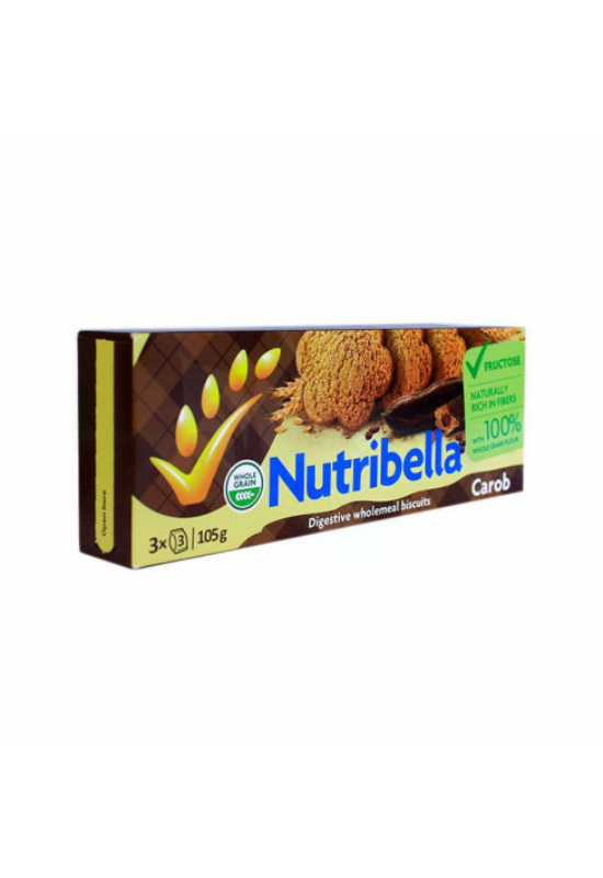 Nutribella keksz fruktózzal karobos 105 g