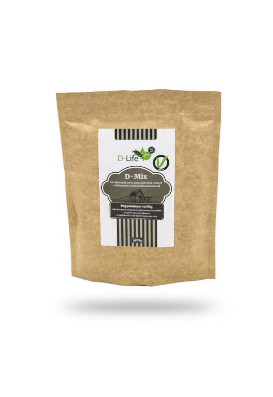 D-life szénhidrátcsökkentett sütőkeverék 70% teljes kiőrlésű liszttel 500g