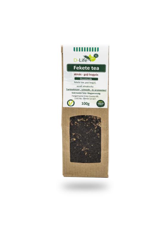 D-life Fekete tea almás - goji (aromamentes) 100g LEJÁRAT KÖZELI