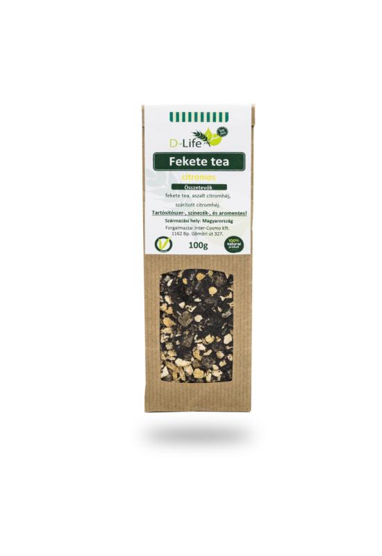 D-life Fekete tea citromos (aromamentes) 100g