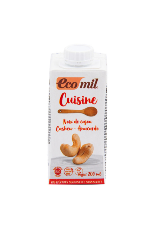 EcoMil bio növényi tejszín kesudióból 200 ml cukormentes, gluténmentes