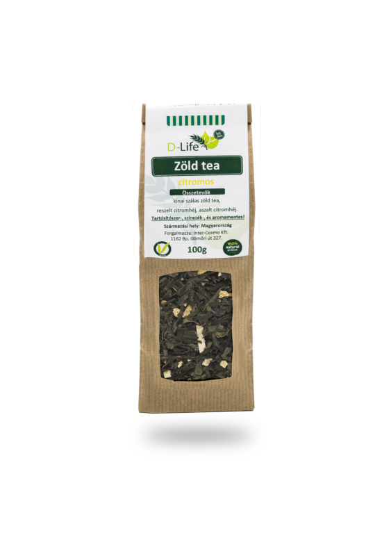 D-life Zöld tea citromos (aromamentes) 100g